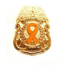 Orange Awareness Ribbon Pin Police Badge Officer Sheriff Gold Plated