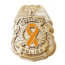 Orange Awareness Ribbon Lapel Pin Police Badge Officer Sheriff Silver