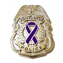 Purple Awareness Ribbon Pin Police Badge Officer Sheriff Cop Cancer Causes New Silver