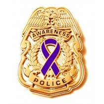 Purple Awareness Ribbon Pin Police Badge Officer Sheriff Cop Cancer Causes New Gold