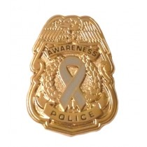 Hypoglycemia Awareness Pin Gray Ribbon Police Badge Officer Sheriff Causes Gold