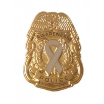 Brain Cancer Awareness Pin Gray Ribbon Police Badge Officer Sheriff Security Gold