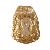 Glioblastoma Awareness Pin Gray Ribbon Police Badge Officer Sheriff Security Gold