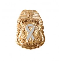 Asthma Awareness Pin Gray Ribbon Police Badge Officer Sheriff Cancer Causes Gold