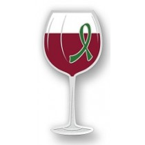Mental Illness Awareness Month May Green Ribbon Red Wine Glass Goblet Lapel Pin Exclusive