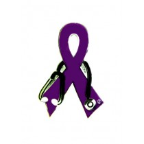 Fibromyalgia Lapel Pin Purple Awareness Ribbon Stethoscope Doctor Nurse