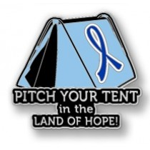 Colon Cancer Awareness Blue Ribbon Tent Land of Hope Camping Camper Sport Lapel Pin