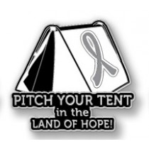 Brain Cancer Awareness Inspirational Gray Ribbon Tent Land of Hope Camping Camper Sport Lapel Pin