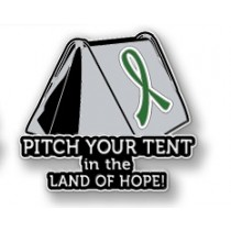 Kidney Cancer Awareness Inspirational Green Ribbon Tent Land of Hope Camping Camper Sport Lapel Pin