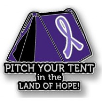 Epilepsy Awareness Inspirational Lavender Ribbon Tent Land of Hope Camping Camper Sport Lapel Pin
