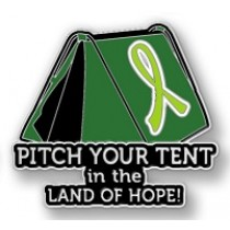 Muscular Dystrophy Lapel Pin Awareness Lime Green Ribbon Tent Land of Hope