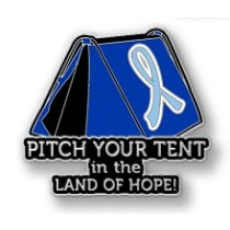 Prostate Cancer Awareness Inspirational Light Blue Ribbon Tent Land of Hope Camping Camper Sport Lapel Pin