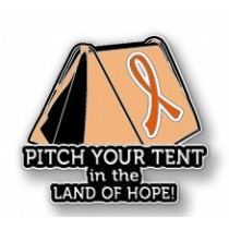MS Multiple Sclerosis Awareness Inspirational Orange Ribbon Tent Land of Hope Camping Camper Sport Lapel Pin