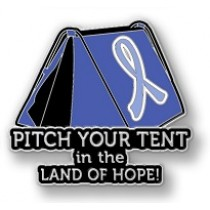 Stomach Cancer Awareness Inspirational Periwinkle Blue Ribbon Tent Land of Hope Camping Camper Lapel Pin