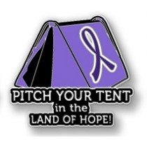 Pancreatic Cancer Awareness Inspirational Purple Ribbon Pin Pitch Your Tent in the Land of Hope Camping Camper