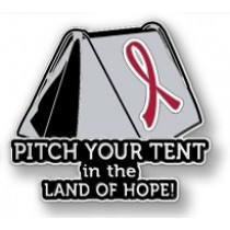 Lymphoma Awareness Inspirational Red Ribbon Tent Land of Hope Camping Camper Sport Lapel Pin