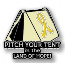 Testicular Cancer Inspirational Yellow Ribbon Tent Land of Hope Camping Camper Sport Lapel Pin