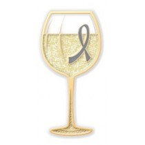 Dyslexia Awareness Month is October Gray Ribbon White Wine Glass Goblet Lapel Pin Exclusive
