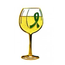 Kidney Cancer Lapel Pin White Wine Glass Green Awareness Ribbon Gold Plated