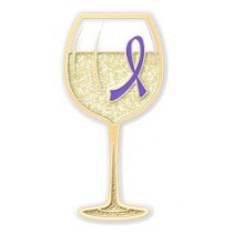 Hodgkin's Lymphoma Awareness Lavender Ribbon White Wine Glass Goblet Lapel Pin Exclusive