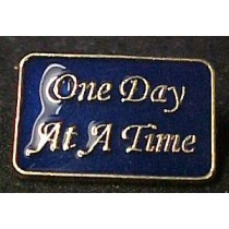 AA One Day At A Time Lapel Pin Alcohol Anonymous Blue Awareness Alcohol Cap Tac
