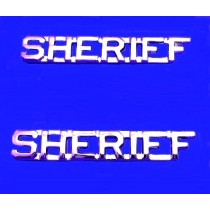 Sheriff Collar Pin Device Set Cut Out Letters Sheriff's Department Nickel 2207N