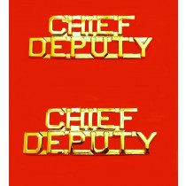 Chief Deputy Collar Pin Device Set Cut Out Letters Sheriff's Dept Gold 2212G