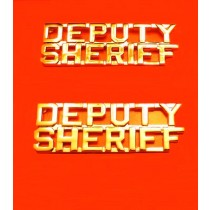 Deputy Sheriff Collar Pin Device Set Cut Out Letters Sheriff's Dept Gold 2216G