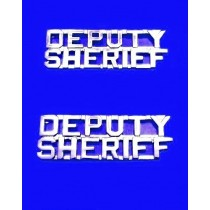 Deputy Sheriff Collar Pin Device Set Cut Out Letters Sheriff's Dept Nickel 2217N