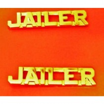 Jailer Collar Pin Set Cut Out Letters Corrections Officer Police Guard Gold 2220G