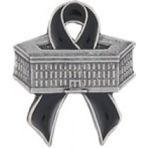 Pentagon Black Ribbon 9-11-01 Remembrance Pewter Black Ribbon Lapel Pin Cap Tac