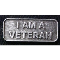 I Am A Veteran Pewter Military Vet Lapel Pin Cap Tac