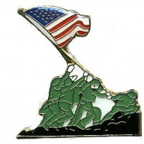 Iwo Jima WWII Lapel Pin Raising Flag US Military Cap Tac Support Our Troops