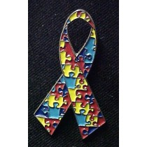 Autism Asperger Awareness Multi Color Puzzle Ribbon Silvertone Lapel Pin Tac