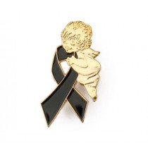 Black Ribbon Lapel Pin Tac Gold Guardian Angel Melanoma Awareness May Awareness Month