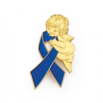 Colon Cancer Awareness Lapel Pin Tac Month March Guardian Angel Blue Ribbon