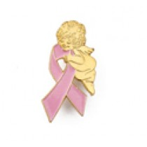 Breast Cancer Lapel Pin Awareness Pink Ribbon Gold Guardian Angel Fundraising Cap Tac