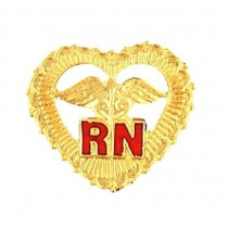 RN Open Heart Caduceus Lapel Pin Beaded Edge Red Letters 1011