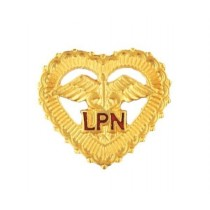 LPN Lapel Pin Open Heart Caduceus Beaded Edge Red Letters Medical 1013