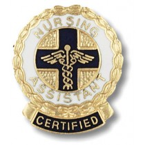 Certified Nursing Assistant Lapel Pin Professional Medical Emblem Wreath Scrolled Ribbon