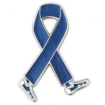 Rectal Cancer Awareness Month is March Blue Walking Legs Ribbon Lapel Pin Perfect for Fundraising Events
