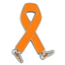 Melanoma Awareness Walk Month is May Orange Walking Legs Ribbon Lapel Pin and Perfect for Fundraising Events