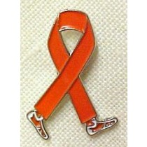 MS Multiple Sclerosis Walk March Awareness Month Orange Walking Legs Ribbon Lapel Pin