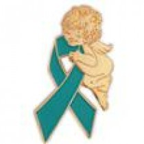 Ovarian Cancer Lapel Pin Tac Gold Guardian Angel Teal Ribbon Awareness