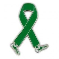 Childhood Depression Awareness Month is October Green Walking Legs Ribbon Lapel Pin Perfect for Fundraising Events