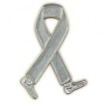 Brain Cancer Awareness Month is May Silver Gray Walking Legs Ribbon Lapel Pin Perfect for Fundraising Events