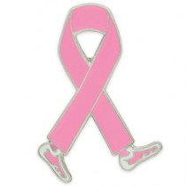 Pink Ribbon Lapel Pin Walking Legs Breast Cancer Awareness Tac