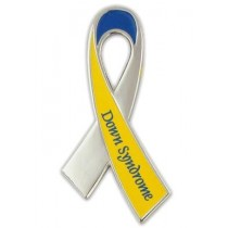Down Syndrome Awareness Pin Yellow Blue Ribbon with Lettering