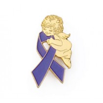 Relay for Life Lapel Pin Tac Awareness Guardian Angel Purple Support Ribbon
