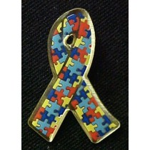 Autism Asperger Awareness Multi Color Puzzle Ribbon Lapel Pin Tac